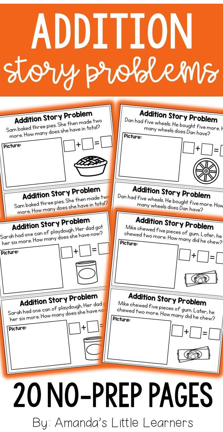 Addition Story Problems For Kindergarten And First Grade Students Formatted For An Introduction To Story Problems Teacher Favorite Things Teaching Essentials Addition story sums grade 1