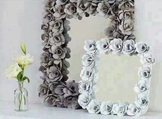 Espejo decorado con flores de carton de huevo reciclado | Ideas para ...