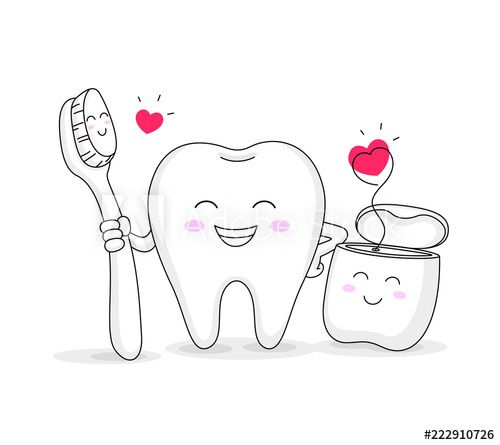 Cute Cartoon Tooth Character With Toothbrush And Dental Floss