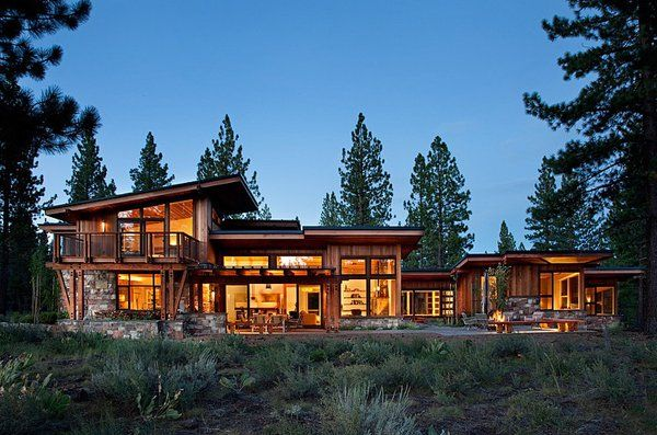 Stunning Rustic Mid Century Inspired Home In The Sierra Nevada Mountains Rustic Houses Exterior House Exterior House Designs Exterior