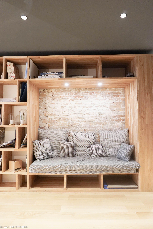Sofa Alcove Bibliotheque Agence Caaz Architecture Grenoble Bois Architecte Design Amenagement Interieur Maison Interieur Maison Deco Maison