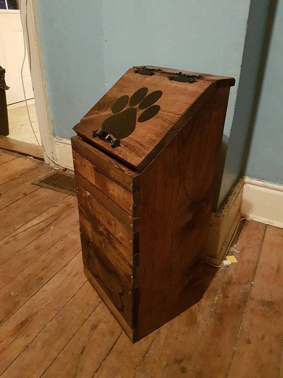 This Is A Wooden Dog Food Storage Container Bin It Measures Approximately 26 Inches Tall 12 Dog Food Storage Containers Dog Food Storage Dog Food Storage Diy
