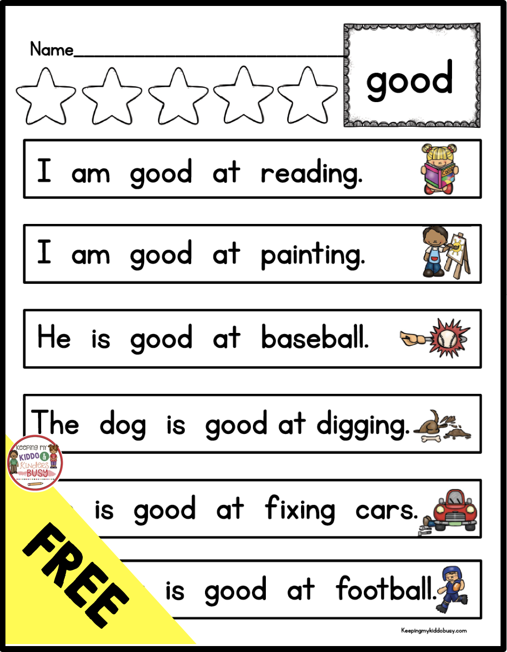 Kindergarten And First Grade Sight Word Activities