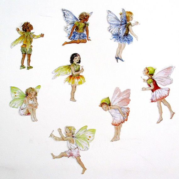 fairy wall stickers flower fairy decals set of 8 on wall stickers id=24242