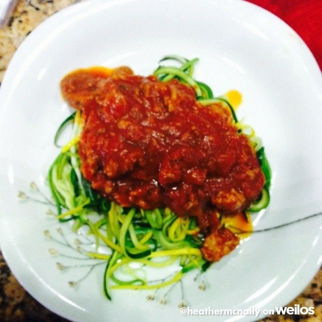 For dinner tonight: zucchini and squash noodle pasta with a veggie and lean ground turkey marinara  #weilos