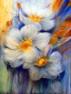 Цветы картина из шерсти