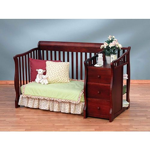 sorelle princeton 4in1 convertible crib u0026 changer cherry - Sorelle Cribs