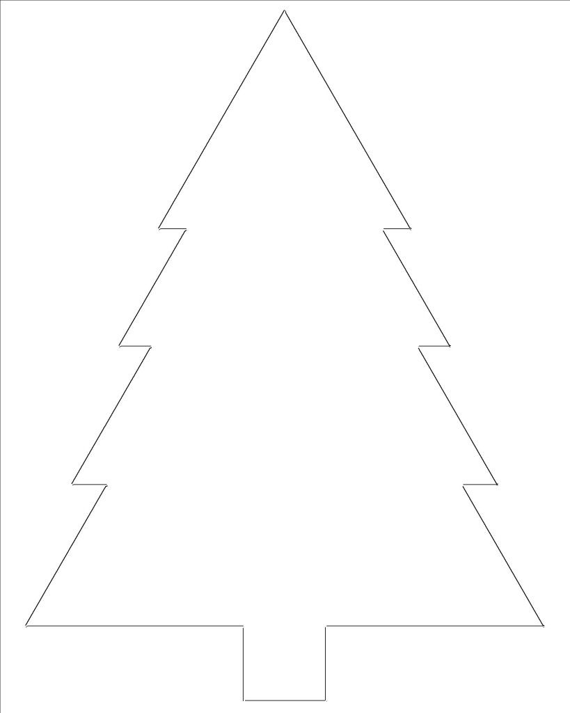 Christmas Tree Outline For Crafts Coloring Etc