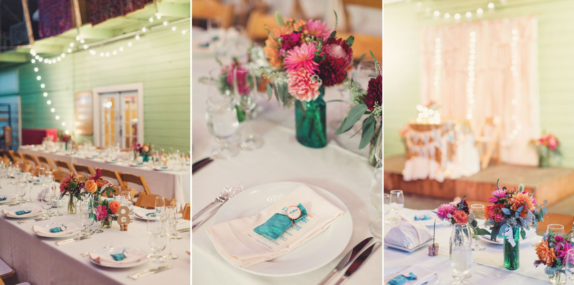 Pink and maroon wedding decor  Vibrant guest centerpieces featuring mixed blue glass vases and