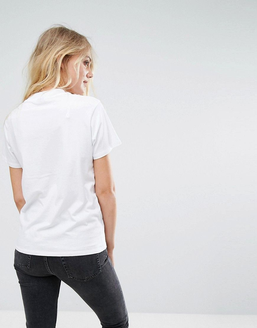 c4ce897e ASOS TALL High Neck T-Shirt With Feminist Print & Embroidery - White Floral  Embroidery