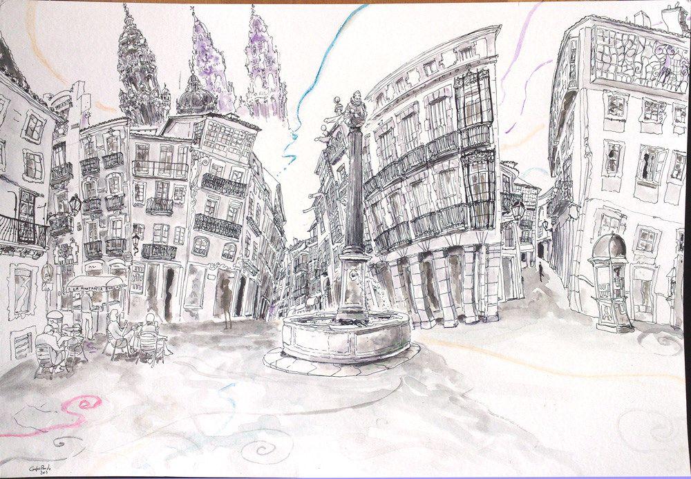 Plaza de Cervantes, Santiago de Compostela, The Way Spain 2013 Carlos Pardo. Watercolor, pastel, charcoal & Ink on paper 19.6 x 13.7 inches 50x35 cms www.artcarlospardo.com