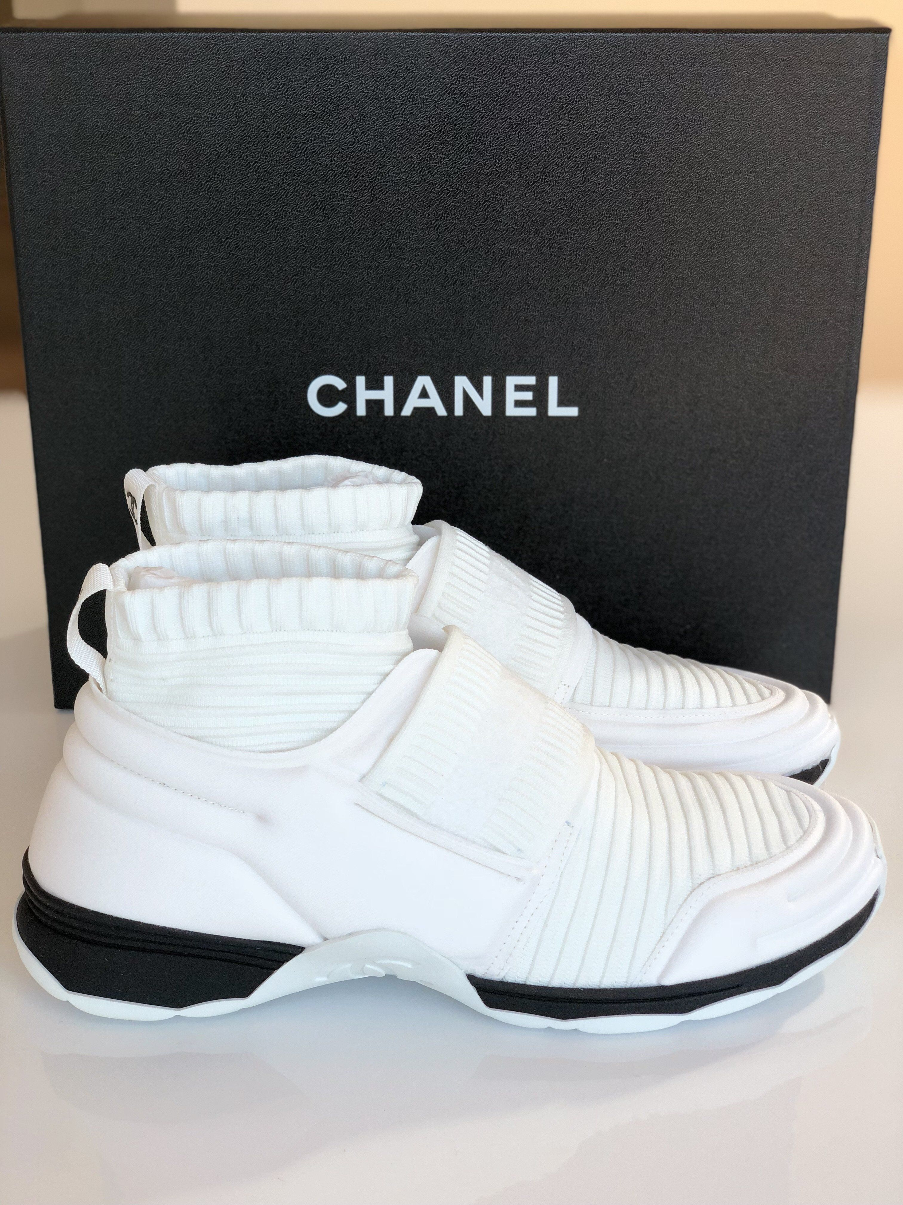 CHANEL CC LOGO WHITE BLACK STRETCH HIGH TOP SNEAKERS SOCKS SHOES TRAINERS a2b23a380fb