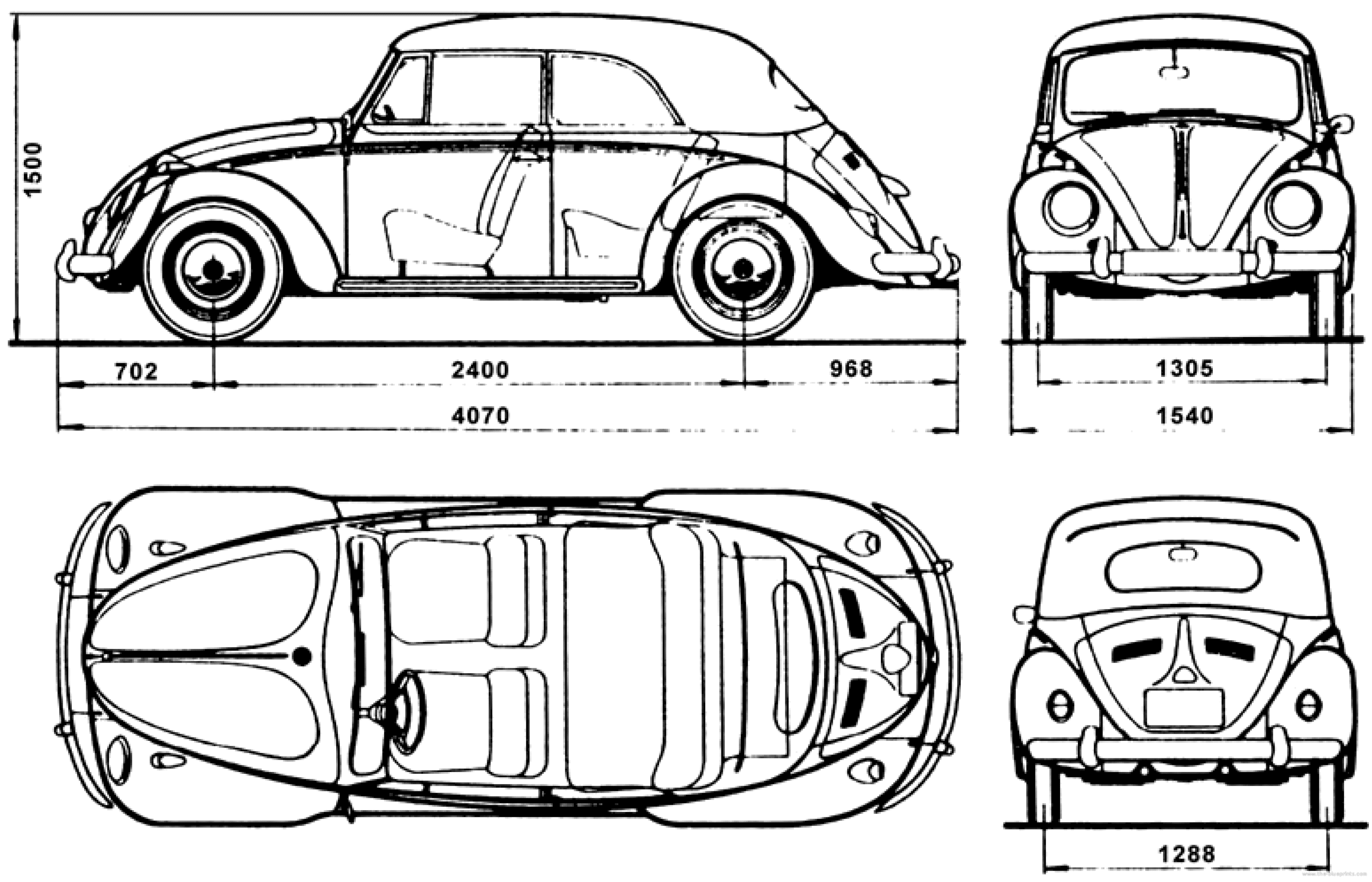 Volkswagen Beetle Body Dimensions