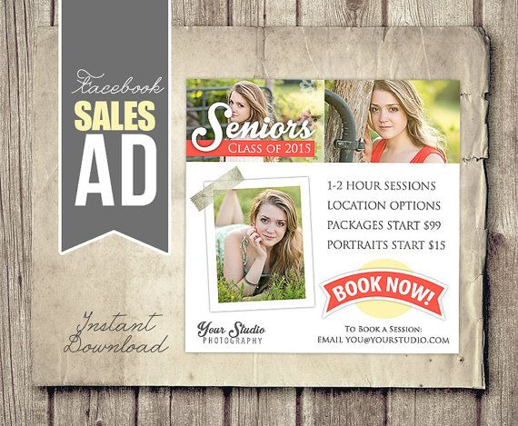 Facebook Marketing For Photographers Instant Download Senior - Photography ad template
