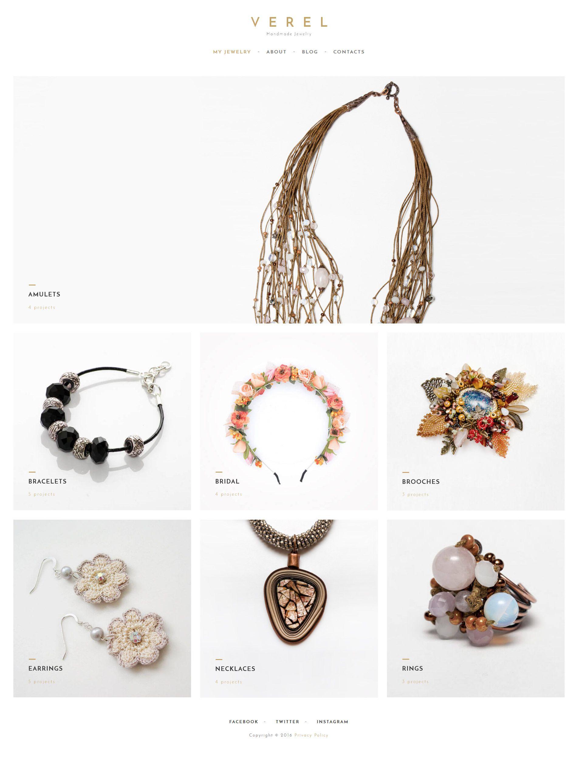 Verel - Handmade Jewelry WordPress Theme | Pinterest