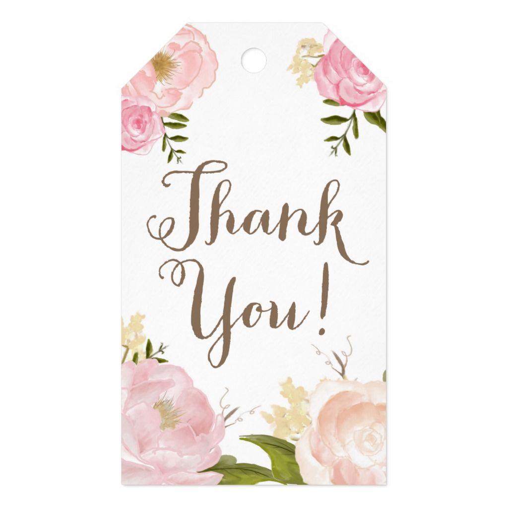 Sentimental Wedding Gift Ideas: Romantic Peony Flower Thank You Gift Tags