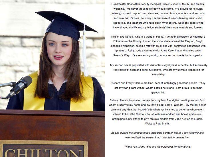 Rory Gilmore Girls Quotes QuotesGram Graduation Pinterest - graduation speech
