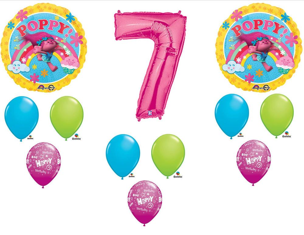 12pc 7th Birthday Trolls Poppy Balloons Party Decorations Supplies 7 Anagram