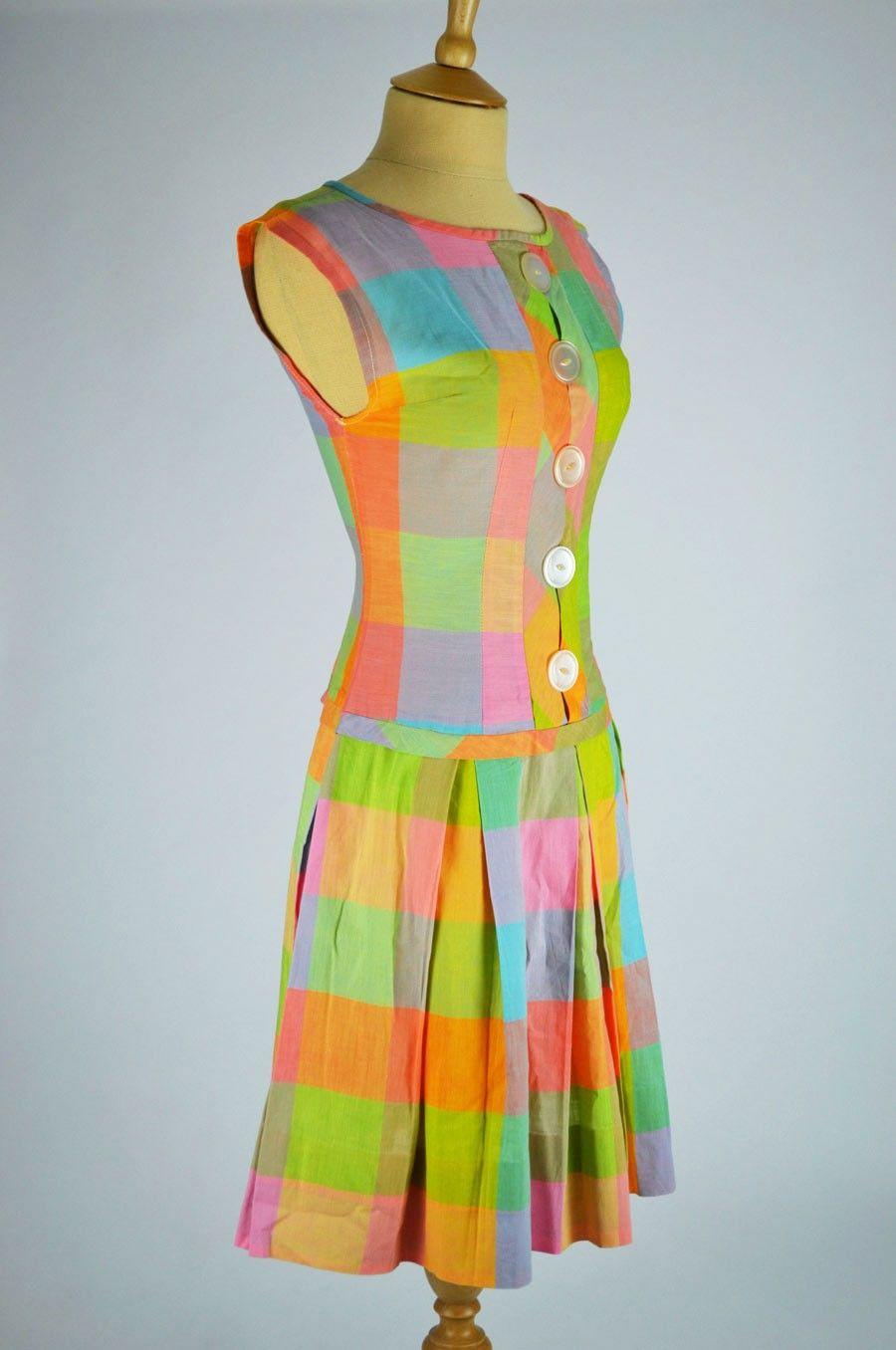 Vintage 70s Art Deco Pleated MOD Empire Dress