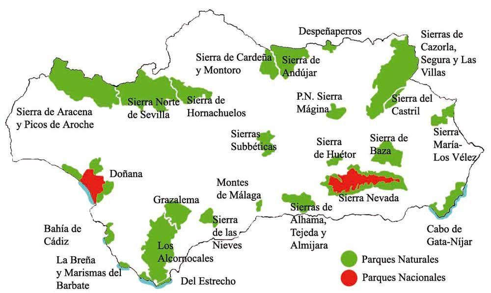 Mapa De Andalucía Físico.Mapa Fisico Andalucia Buscar Con Google Parques