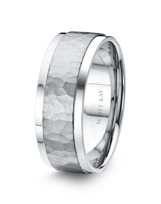 Men S Platinum 8mm Wedding Band With Hammered Satin Center Bright Edges Also Availa Mens Wedding Rings Titanium Wedding Rings Mens Wedding Bands White Gold