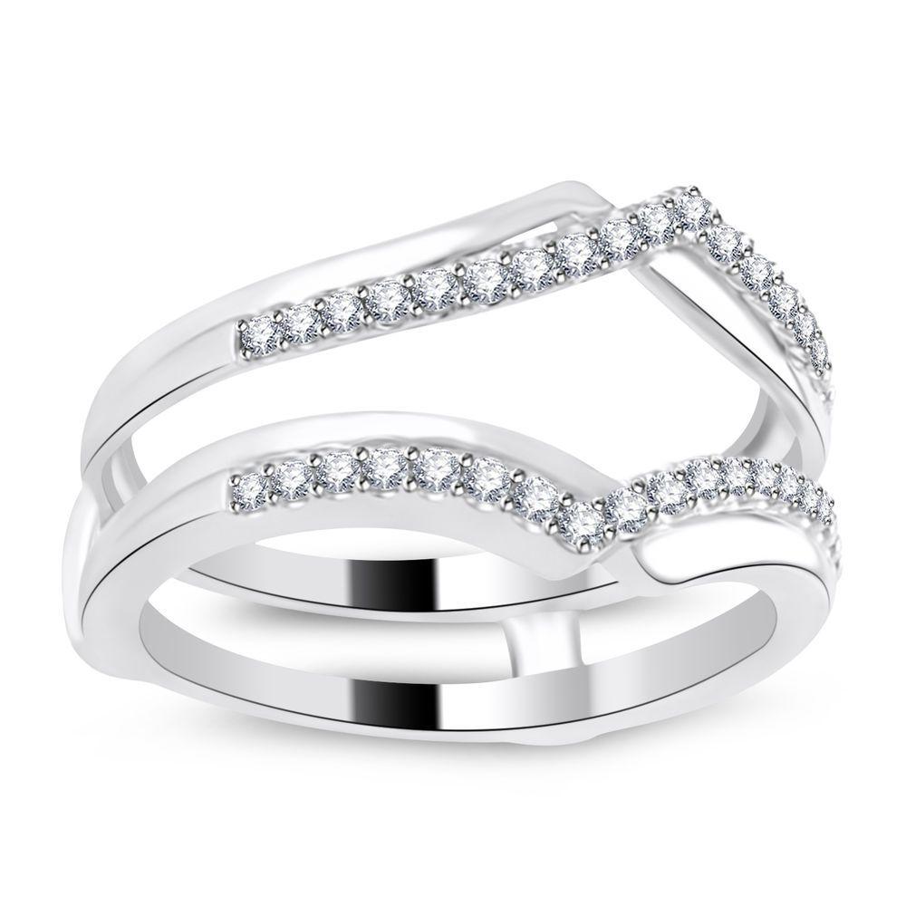 New 10k White Gold Two Rows Solitaire Enhancer Diamonds Ring Guard Wrap Insert Houseofkanak Withdiamonds Wedding Ring Enhancers White Gold Diamond Gemstone