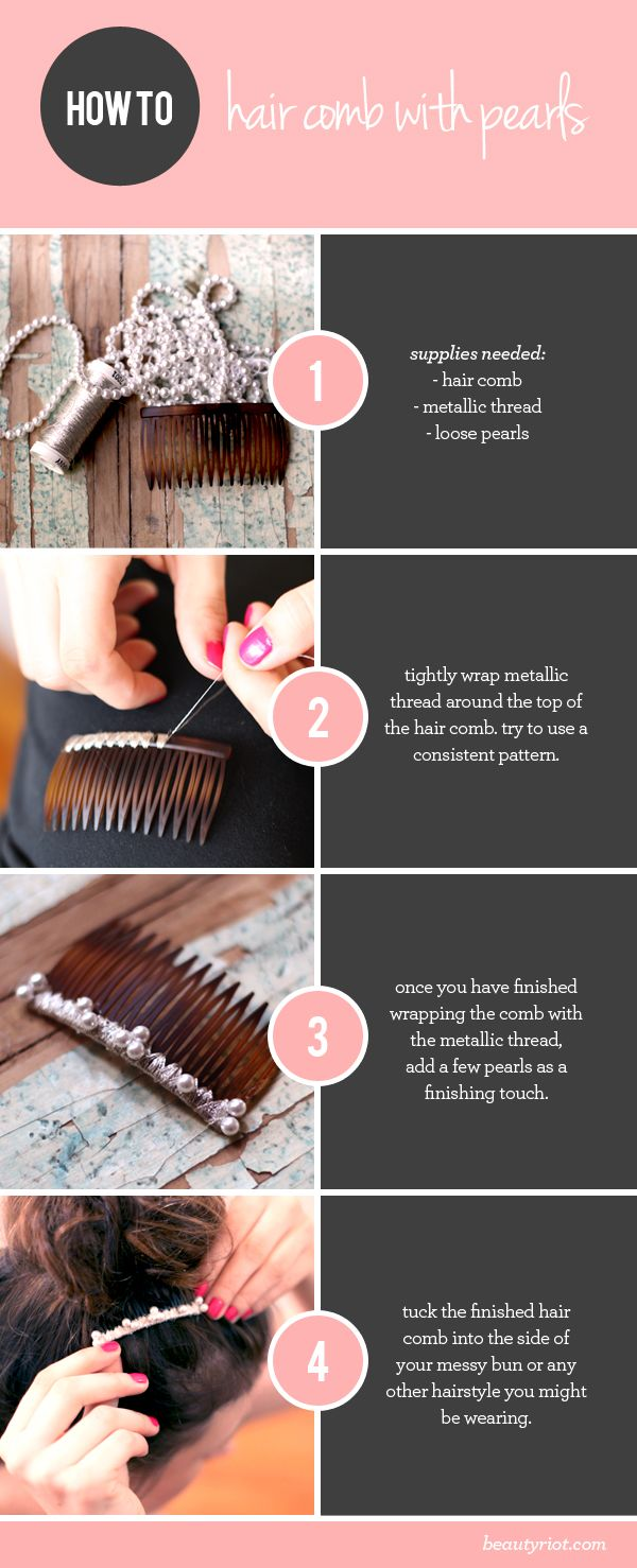 489c22a81f4 DIY metallic hair comb- try using different threads- this looks so cute  with and without the pearls so don t worry if you don t have pearls-  rhinestones are ...