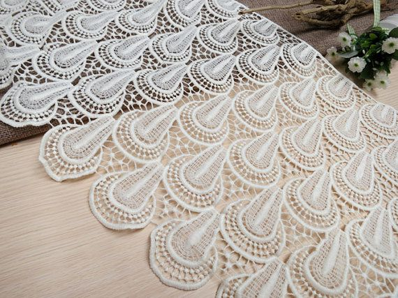 Width 29 cm ivory  lace trim,flowers embroidered lace,Cotton floral lace trim,scalloped trim lace for DIY dress