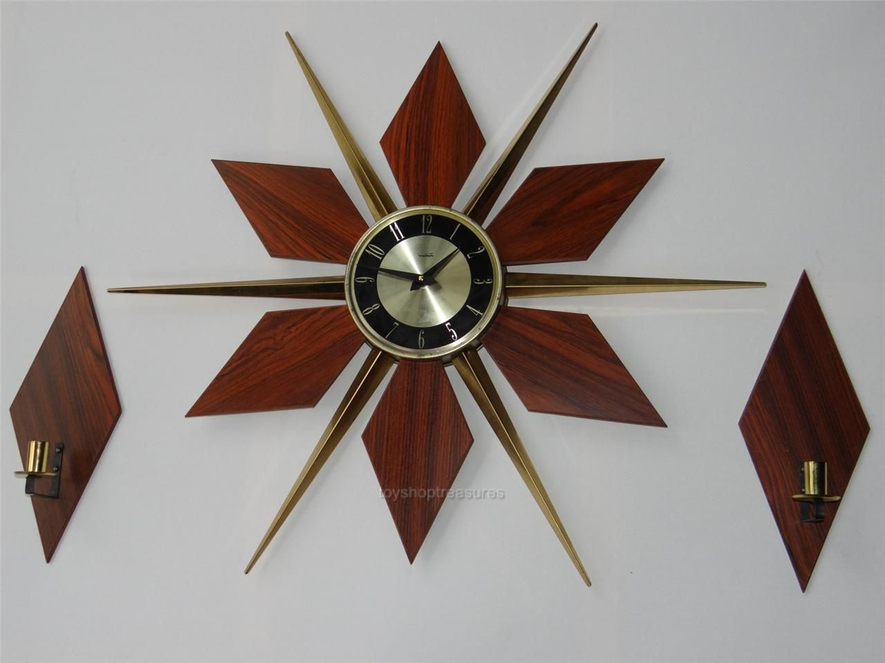 Retro genuine vintage sunburst teak brass clock eames wall clock retro genuine vintage sunburst teak brass clock eames wall clock with sconces amipublicfo Images