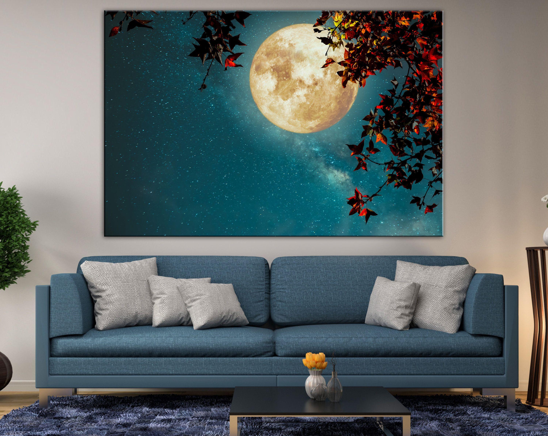 Full Moon Wall Art Night Sky Canvas Moon Retro Style Decor Etsy Moon Wall Art Custom Canvas Art Night Art
