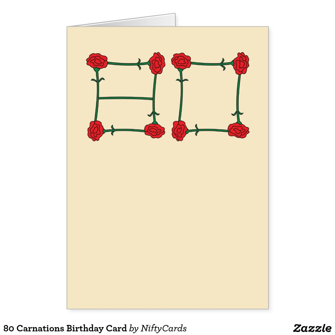 80 Carnations Birthday Card