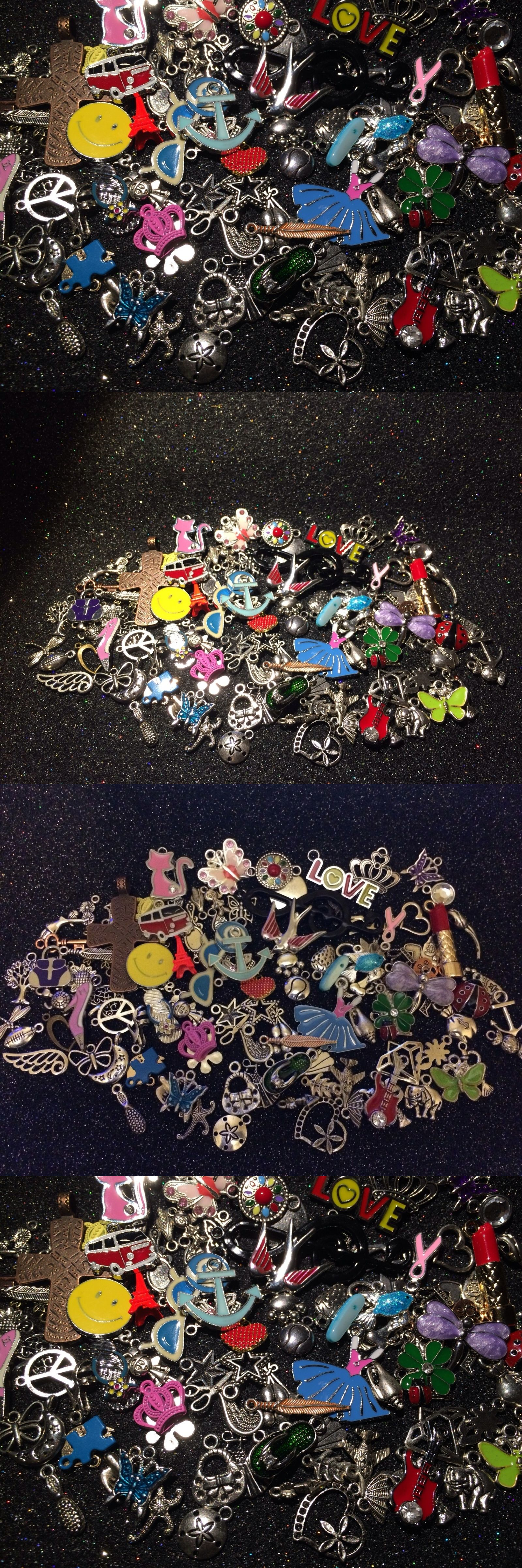 Traditional 64506: 200 Piece Lot ~ Mixed Theme Enamel Silver Gold Charms BUY IT NOW ONLY: $36.95