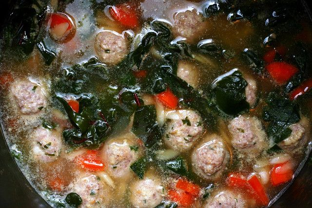 Italian Wedding Soup With Turkey Meatballs I Used Acini Di Pepe Pasta And Swiss Chard