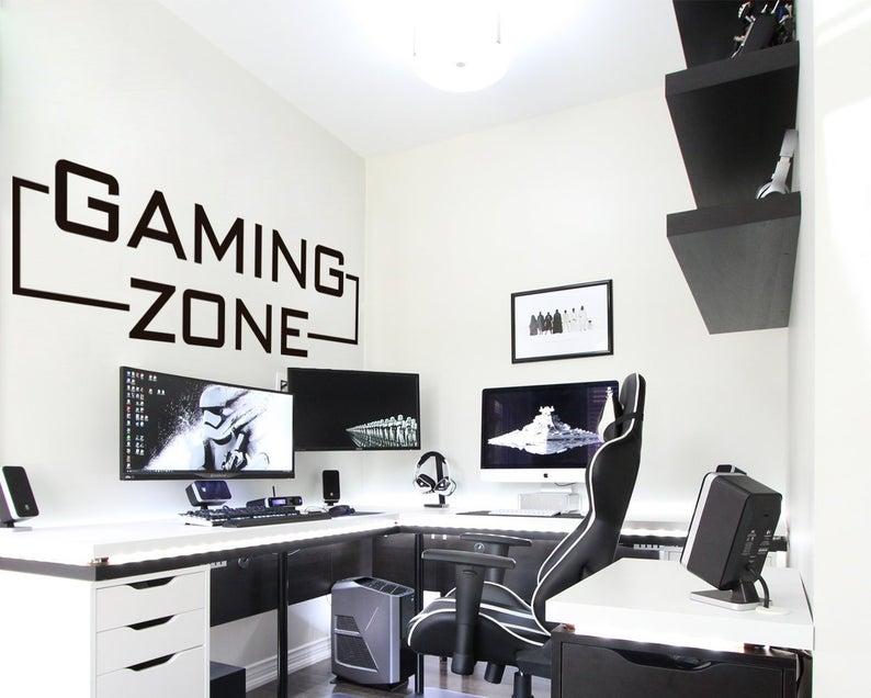 Gaming Zone Gaming Decals Gamer Wall Sticker Gamer Wall Etsy In 2020 Gamer Decor Gamer Room Decor Room Setup