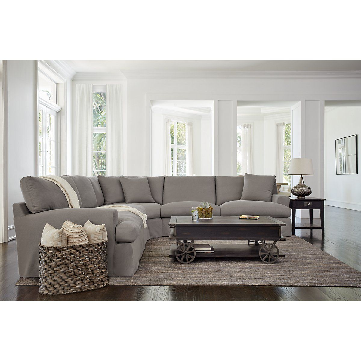 Includes two chairs two armless chairs wedge and pillows as pictured bring relaxed modern style to your home with the delilah large two arm