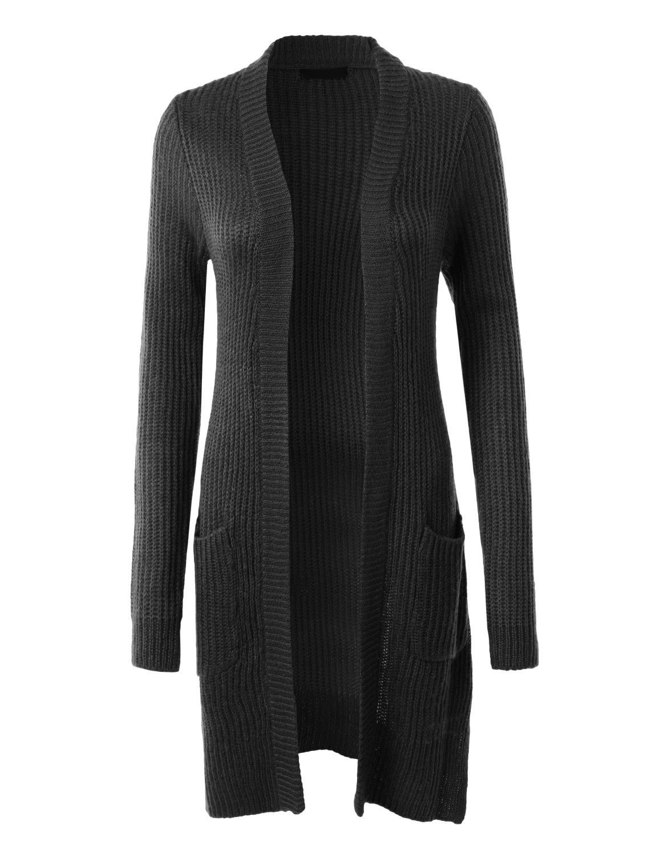 LE3NO Womens Soft Knit Open Front Long Boyfriend Cardigan ...