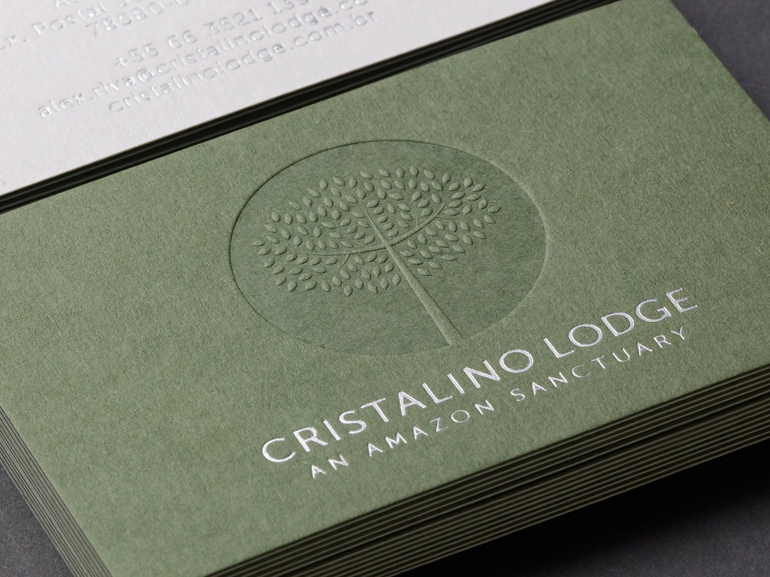 Duplex, blind embossed and silver foil business card for Cristalino ...