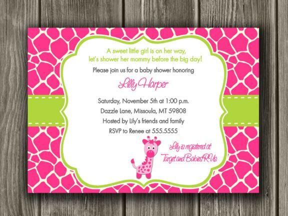 Pink giraffe baby shower invitation free thank you card included pink giraffe baby shower invitation free thank you card included filmwisefo