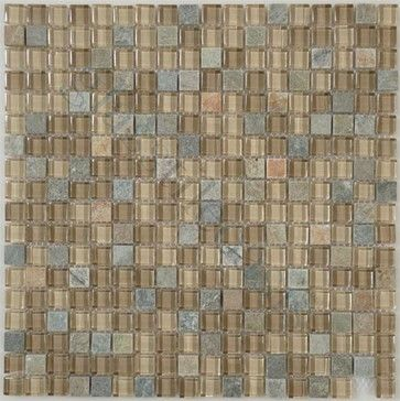 "Contemporary Mocha 5/8"" x 5/8"" Cream/Beige Backsplash Glossy & Unpolished Glass - tile - Glass Tile Oasis"