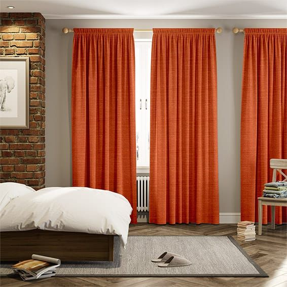 Holborn Orange Ember Curtains Decoration Curtains Blue Curtains