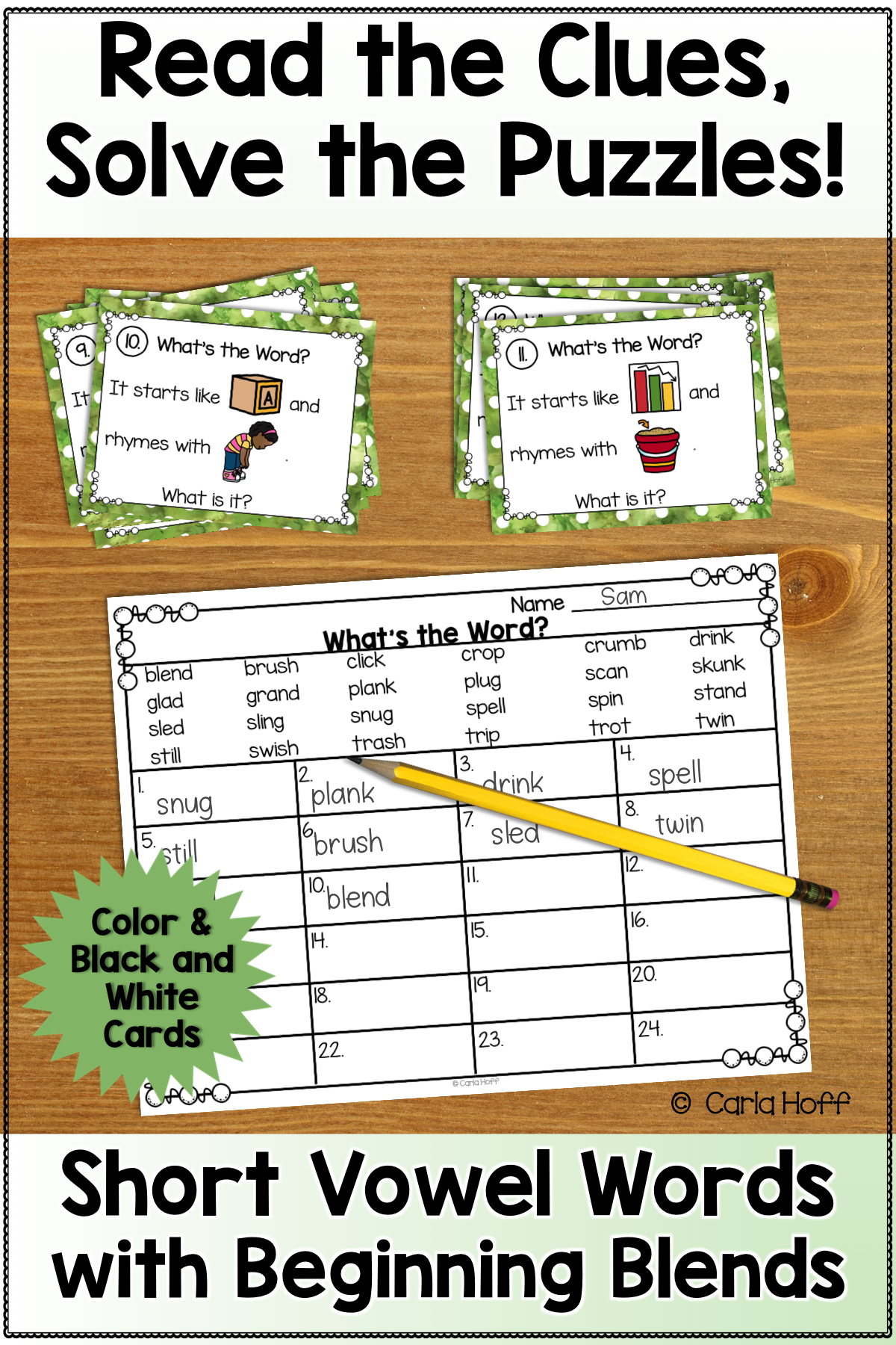 RHYME AND REBUS WORD PUZZLES Beginning Blends Word