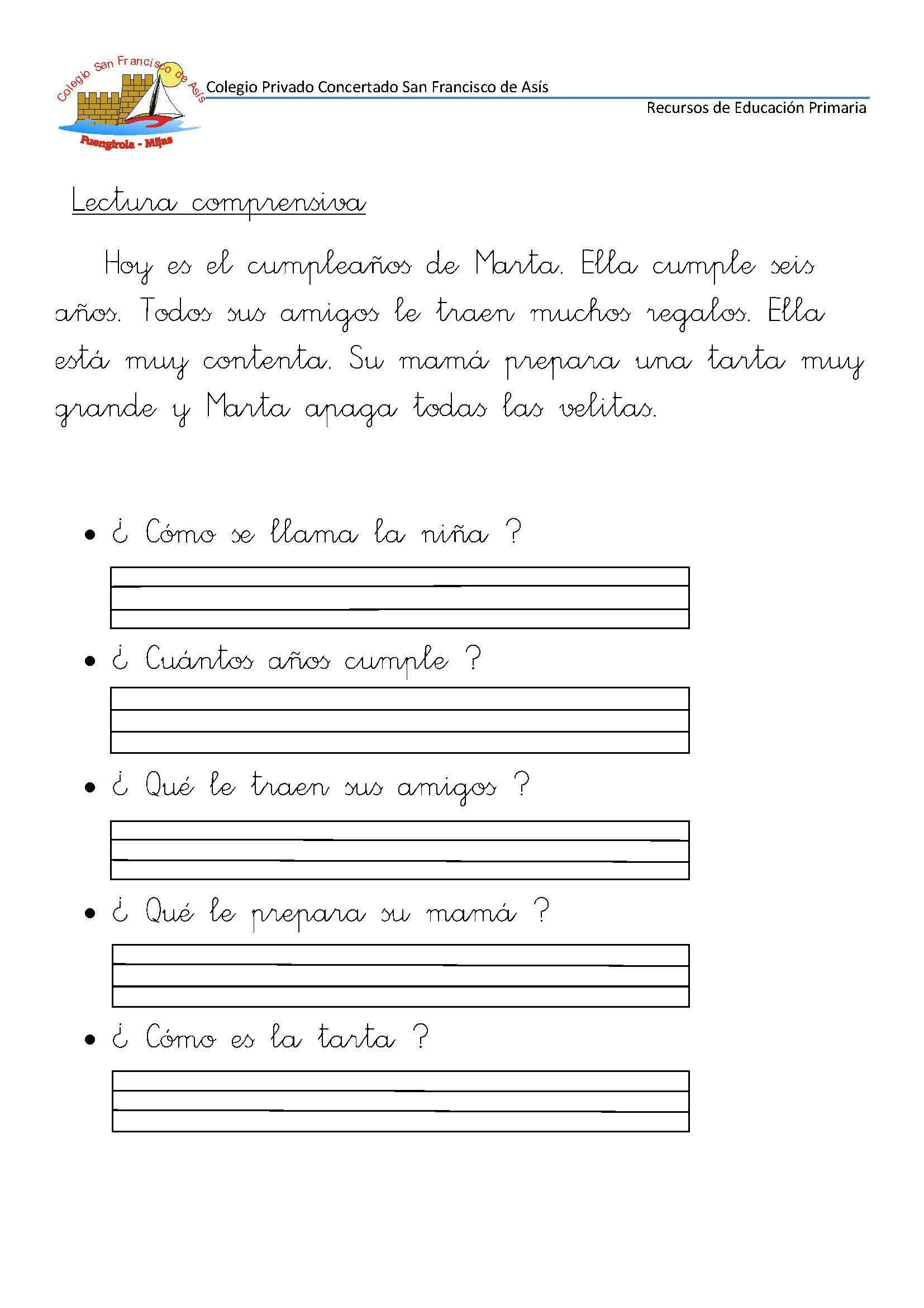 50 Fichas De Comprensión Lectora Para Primer Grado Y Primer Ciclo De Primaria Página 02 Jpg 1654 2339 Activities For Kids Activities School