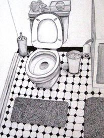 Ode To The Commode Bathroom Drawing Pencil Sketch Toilet