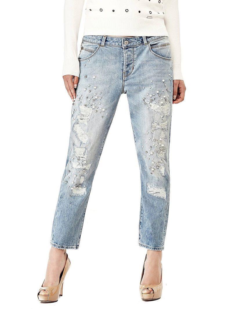 JEAN FUSELE APPLICATIONS DE PERLES Guess - Jeans Femme Guess - Ventes -pas-cher.com