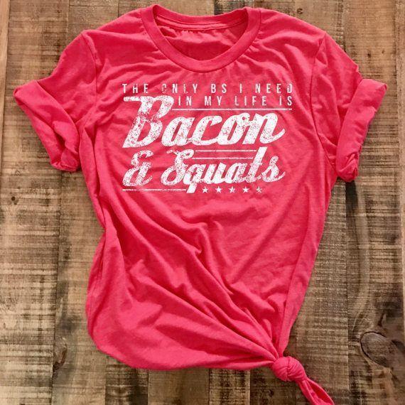Photo of Muscle Shirt Powerlifting Weightlifting Bacon Squat Shirt Womens Shenanigan  S -…