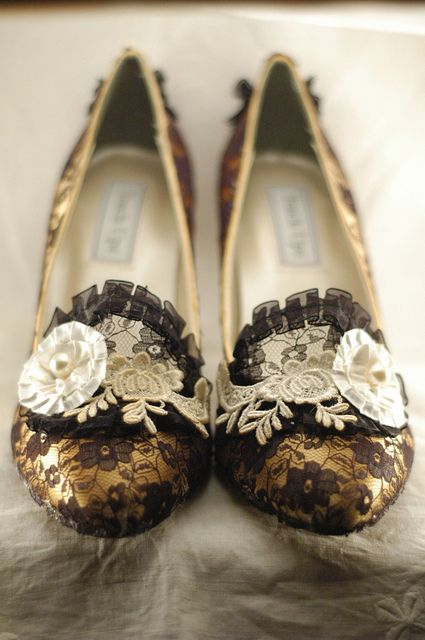 Black, Yellow & Ivory Marie Antoinette Shoes
