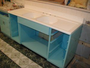 Steel SInk Base Caninet Youngstown Kitchen RESTORED     Just the way I want mine!