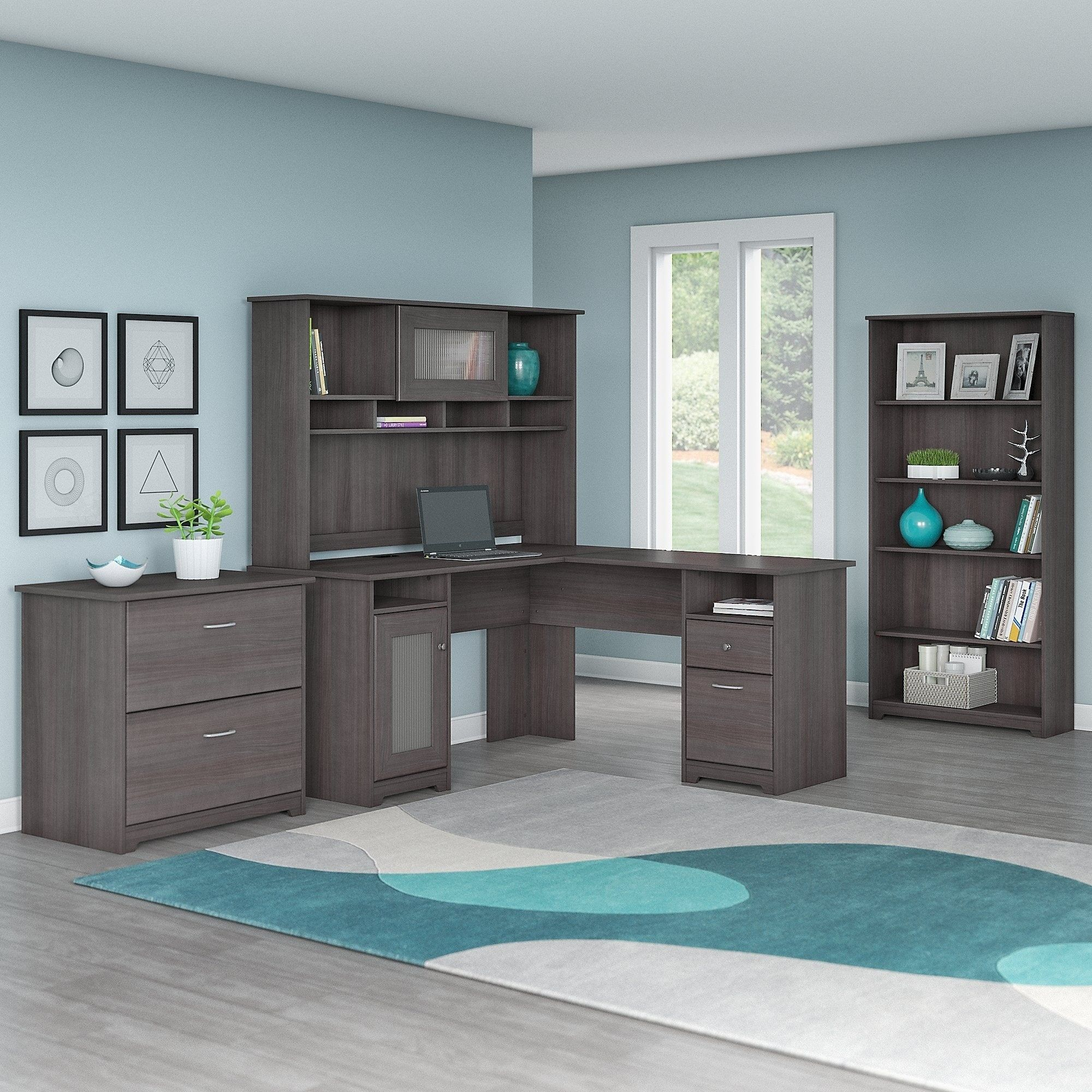 Bush furniture cabot l shaped desk with hutch lateral file cabinet