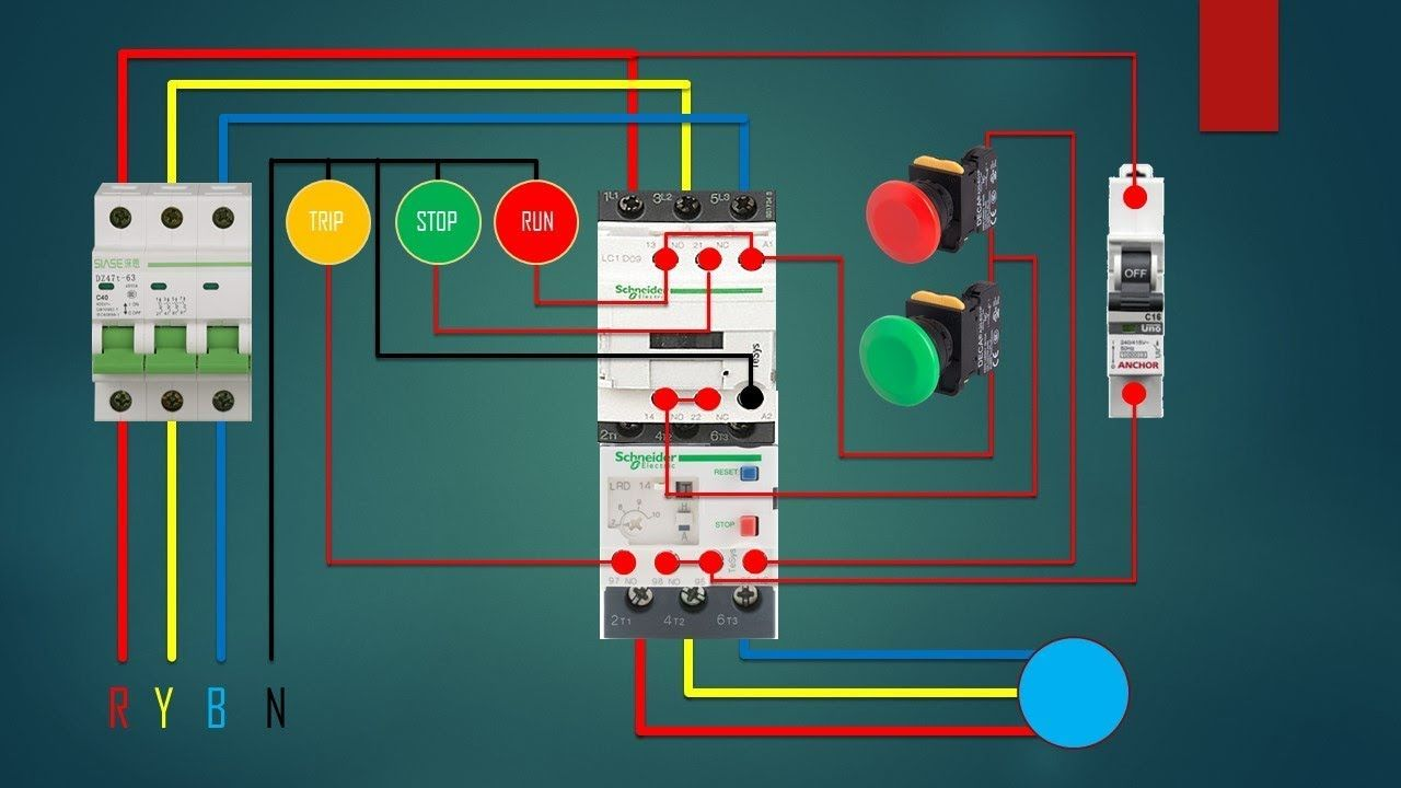 medium resolution of three phase dol starter control overload indicator and power wiring di