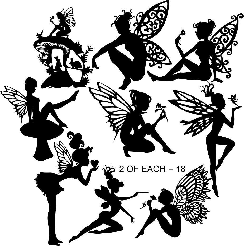 Die cut silhouette fairies c 39 small 39 x 18 assorted for for Fairy cut out template